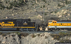 Meet in Price Canyon (jamesbelmont) Tags: railway emd sd40t2 f9a pricecanyon utah riogrande drgw tunnelmotor riograndezephyr lynn kyune priceriver