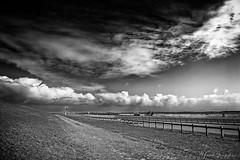 The Deep (Alfred Grupstra) Tags: blackandwhite nature ruralscene cloudsky landscape outdoors sky road nopeople cloudscape scenics field farm nonurbanscene summer meadow agriculture grass land sunset 925 monochrome