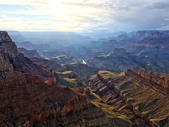 The verdant carpet of green on the Tonto Platform far below was exceptionally lit by the long rays of lights pouring in from the distant west. #GrandCanyon #travel #photo #picoftheday #seetheworld #getoutside #earthpix #arizona #nationalpark #findyourpark
