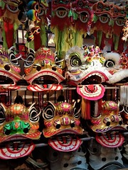 lion heads (3) (SM Tham) Tags: asia southeastasia malaysia kualalumpur midvalley shoppingmall chinesenewyear decorations display liondance lion head costume artsandcrafts handmade shelf painted