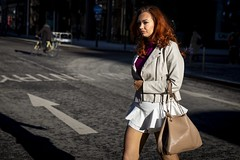 The Sunny Side of the Street (Leanne Boulton) Tags: portrait urban street candid portraiture streetphotography candidstreetphotography candidportrait streetportrait streetlife woman female girl face expression mood walking redhead hair style fashion cold winter weather sunlight tone texture detail depthoffield bokeh dutchangle naturallight outdoor light shade shadow city scene human life living humanity society culture people lifestyle canon canon5dmkiii color colour glasgow scotland uk