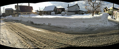 Snowbank and Slush 1 (sjrankin) Tags: 21february2019 edited neighborhood snow ice road slush clouds weather sky houses lines wires kitahiroshima hokkaido japan panorama