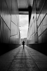 Walk Alone (Mohammad Dadsetan) Tags: architecture monochrome perspective bnw light shadows man portrait lowangle street human minimal
