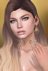 #456 - Warm Palette (Violet Batriani | Blogger | Model) Tags: secondlife fashion blog bento portrait brunette gold goddess