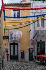 Largo do Peneireiro (Ruth Flickr) Tags: 4 5 alfama bin europe lisbon portugal spring cafe city cobbles decoration door holiday house hydrant laundry street tiled urbanjumble washing