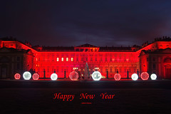 Happy New Year (stefano.chiarato) Tags: happynewyear buonanno villareale monza lombardia italy luci lights red rosso palazzi building pentax pentaxk70 pentaxflickraward architettura architecture