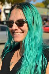 The girl with the aquamarine hair (radargeek) Tags: dayofthedead 2018 october plazadistrict okc oklahomacity portrait bluehair greenhair aquamarinehair sunglasses