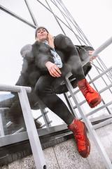 MERIT-2150141 (qauqe) Tags: tartu estonia model female girl woman beanie chick fashion ootd leica timberland footwear red urban streetwear furcoat fur jacket smile laughter winter