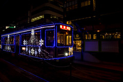 Christmas Tram (Walter Quirtmair) Tags: ifttt 500px tram christmas japan kumamoto blue light road street night quirtmair streetcar trolley railway public transportation tramway station