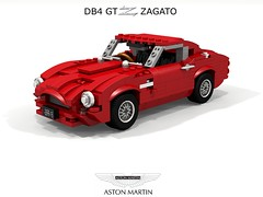 Aston Martin DB4 GT Zagato (1960) (lego911) Tags: aston martin astonmartin db4 gtz zagato 1960 1960s classic coachbuilt gt supercar sportscar coupe alloy auto car moc model miniland lego lego911 ldd render cad povray gb british england afol foitsop