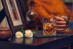 Cheers (Hanna Tor) Tags: alcohol drink glass indoor food beverage liquid bar closeup still life whiskey ice brandy luxury black night nightclub rich lifestyle woman flowers home cinematic cognac relax relaxation mood hannator california usa