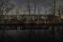 Lonesome Train (Tim Loesch) Tags: reflection stars nightshot canal abandoned nj train