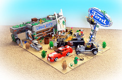 Fordpocalypse (Oky - Space Ranger) Tags: lego post apoc apocalypse apocalyptic wasteland desert fordpocalypse ford mustang f100 pickup truck modelt hotrod fortress mad max fury road dealership