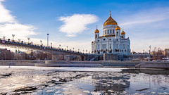 Cathedral of Christ the Saviour (KonstEv) Tags: church cathedral orthodox moscow christ saviour river russia bridge ice water храмхристаспасителя храм церковь москва собор