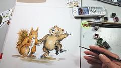Wenn Wombat und Eichhörnchen bei mir aufm Malblatt einen Reigen tanzen, dann steckt da ein besonders liebenswerter Auftrag dahinter.💚 ___ #wandklex #malerei #handgemalt #auftragskunst #custompaint #comission #painting #aquarell #watercolor #wa (wandklex Ingrid Heuser freischaffende Künstlerin) Tags: etsyseller watercolour etsyfindes wandklex etsyde etsygifts malerei auftragskunst aquarell tierportrait handgemalt onewomanshow squirrel watercolor tier painting comission etsyfinds etsy squirrelsofig custompaint squirrels