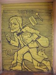 the fool freak (en-ri) Tags: ovazione collettivo fx giallo nero serranda bologna wall muro graffiti writing vagabondo hobo cane dog