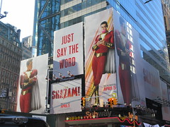 Shazam The Big Red Cheese Billboard 42nd St NYC 4333 (Brechtbug) Tags: shazam billboard 42nd street new captain marvel the big red cheese poster ad nyc 2019 times square movie billboards york city work working worker paint painting advertisement dc comic comics hero superhero alien dark knight bat adventure national periodicals publication book character near broadway shield s insignia blue forty second st fortysecond 03202019 lightning flight flying march