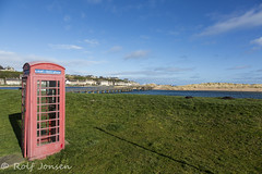 Lossiemouth East Beach (rjonsen) Tags: phonebox phonebooth grass lawn blue sky couds wide angle landscape sea beach coast scotland alba