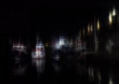 Fishing Boats (Bill Eiffert) Tags: harbour boats fishing night scarborough uk layers blur