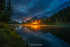 Antorno lake (Iván F.) Tags: antorno dolomiti lake italy dolomitas reflection colour house wood trees forest night landscape landscapes explore explorer exploration discover travel sony longexposure europe