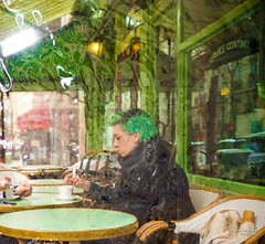 Street - Kind of green world (François Escriva) Tags: street streetphotography paris france people candid olympus omd photo rue woman colors sidewalk fun funny café bar green girl emeraude hair table bread pain bag coffee montmartre