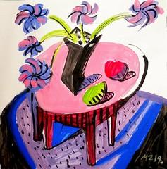 Maria Zaikina, After Hockney, acryl on paper, 24×25 cm, 2019 (suzy_yes) Tags: mariazaikina copy after hockney davidhockney acryl acrylic vase fruits table