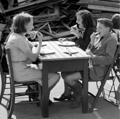 Lend Lease (theirhistory) Tags: boy child kid girl jumper jacket trousers shoes dress table eating rations skirt shorts