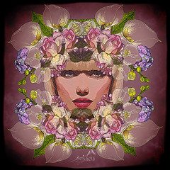 The Queen of flowers (SØS: Thank you for all faves + visits) Tags: digitalartwork art kunstnerisk manipulation solveigøsterøschrøder artistic face flowers girl portrait 100views
