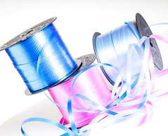 Ribbons (Karen_Chappell) Tags: ribbon blue pink white pastel curly present trim trimmings birthday gift holiday stilllife spool roll product