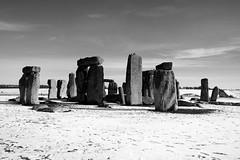 The Stones In Winter (B&W) (crashcalloway) Tags: stonehenge stones stonecircle wiltshire mystery mysterious westcountry blackandwhite monochrome twotone snow winter