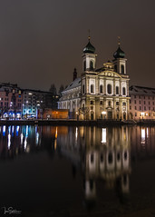 Jesuit Church by Night (ivanstevensphotography) Tags: church reflection nightphotography water river longexposure