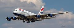 British Airways Airbus A380 (Thomas Wraight) Tags: a380 airbusa380 doubledeckairliner widebody superjumbo airbus airliner passengerairliner photography canon canon7dii heathrow heathowairport londonheathrow egll london greaterlondon england greatbritian unitedkingdom europe aviation aircraft flight jet britishairways ba