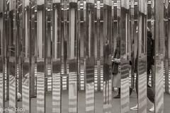 In the museum-14 (niekeblos) Tags: museum boymans rotterdam vertical entrance canon6d stripes people ball blackandwhite