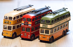 Three trolley buses - Smile on Saturday (alisonhalliday) Tags: trolleybus miniatures smileonsaturday threethesame sigma105mm commercialvehicle