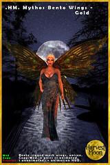 Harvest Moon - Mythos Bento WIngs - Gold (honeyheart1) Tags: wing fairy fae faery faerie fey fay gazebo dress frock gown sl secondlife harvestmoon slsyndicate syndicatesunday whitehorsehollow