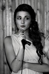 Bridesmaid Toast (Scott RS) Tags: portrait bw canon40d wedding bridesmaid speech celebration dress hair eyebrows eyes skin face soft tender delicate beautiful gorgeous pretty young ceremonies kind compassion fun funny stunning earrings microphone bracelet wavy sweet precious