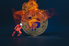 Miner with Bitcoin in flames (wuestenigel) Tags: broken finance coin market money mining bear digital crash bitcoin bussiness cryptocurrency bullmarket background miner btc light licht people menschen noperson keineperson travel reise art kunst desktop abstract abstrakt symbol moon mond luminescence lumineszenz sky himmel one ein design sculpture skulptur illustration