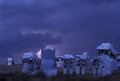 Carhenge (JC Richardson) Tags: nebraska stonehenge auto automobile blue carhenge cars lightning neolithic purple replica spoof wrecked alliance usa greatplains midwest prairie plains