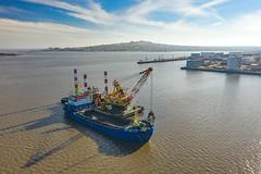 Crane (Marcelo Campi Amateur photographer) Tags: draga capurro aerialphotography boat crane montevideo bay harbor puerto