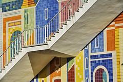 Infante Santo - Carlos Botelho (RobertLx) Tags: carlosbotelho infantesanto lisbon lisboa city azulejo tiles architecture stairs wall portugal colourful 64 travel street mural building europe