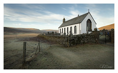 Church of serenity (GJ Duncan Photography) Tags: scotland sunrise church peaceful frost dawn hillside countryside idyllic scottishlandscape drystonewall whitechurch heavenly religions religous sidelight composition nikon