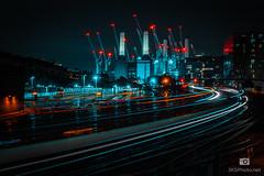 Battersea Power Station  (1 of 1) (jksphoto1) Tags: longexposure le night nightography nighttime dark afterdark lighttrail lighttrails train trainline powerstation london battersea