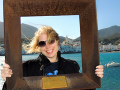 Lise at Cadaques (dckellyphoto) Tags: spain 2015 catalonia cadaques europe water blue town boat lise eoshe frame portrait metal woman