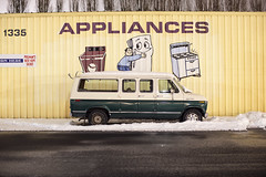 Appliances (Curtis Gregory Perry) Tags: appliances pullman washington ford econoline van night winter snow longexposure refrigerator hug hugging man stove range over washing machine nikon d810