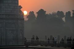 Morning Gatherers (Pedestrian Photographer) Tags: taj mahal morning am sunrise red sky pillar visitors tourists agra india indian