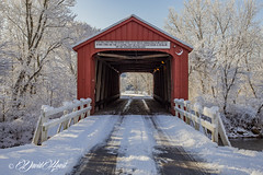 A Stiff Fine (david.horst.7) Tags: history historic building bridge coveredbridge snow outdoors winter sign