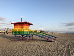 Colorful Baywatch at Venice beach, Los Angeles, California (marcobarten) Tags: lifeguard california losangeles baywatchtower baywatch colorful rainbow venicebeach beach