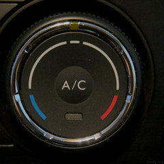 Click for Hot or Cold (Coyoty) Tags: macromondays squareformat flickrfriday click hotorcold hot cold temperature solstice round circle knob ac airconditioning car red blue letters black square spring macro chrome subaru forester control switch