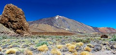 Roques and Mount Teide (López Pablo) Tags: roque teide national park mountain volcano bush green yellow red sky blue nature tenerife canary island spain nikon d7200 panorama