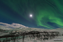 Over the Moon (kevin-palmer) Tags: sweden swedishlapland europe arctic march winter snow snowy cold nikond750 björkliden night sky stars starry space astronomy astrophotography moonlight moonlit evening aurora auroraborealis northernlights green colorful moon scandinavianmountains skiresort sigma14mmf18